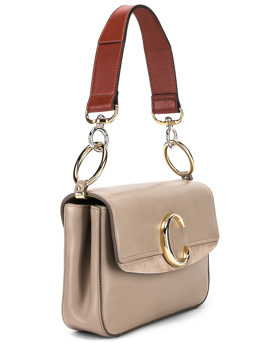 Image 4 of Chloe Chloe C Small Suede-Trimmed Leather Shoulder Bag in Motty Grey