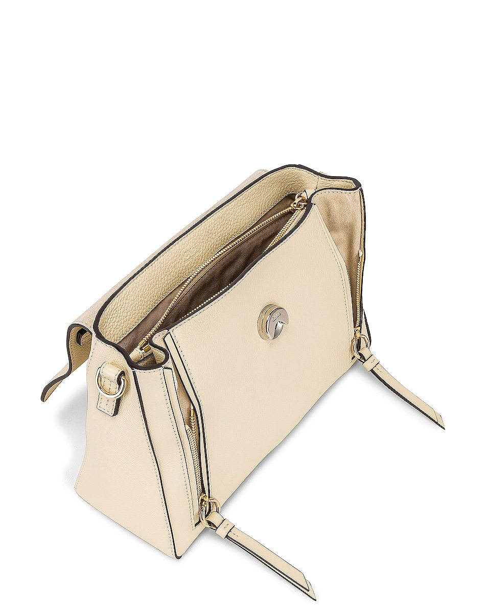 Image 5 of Chloe Small Faye Calfskin & Suede Day Bag in Off White