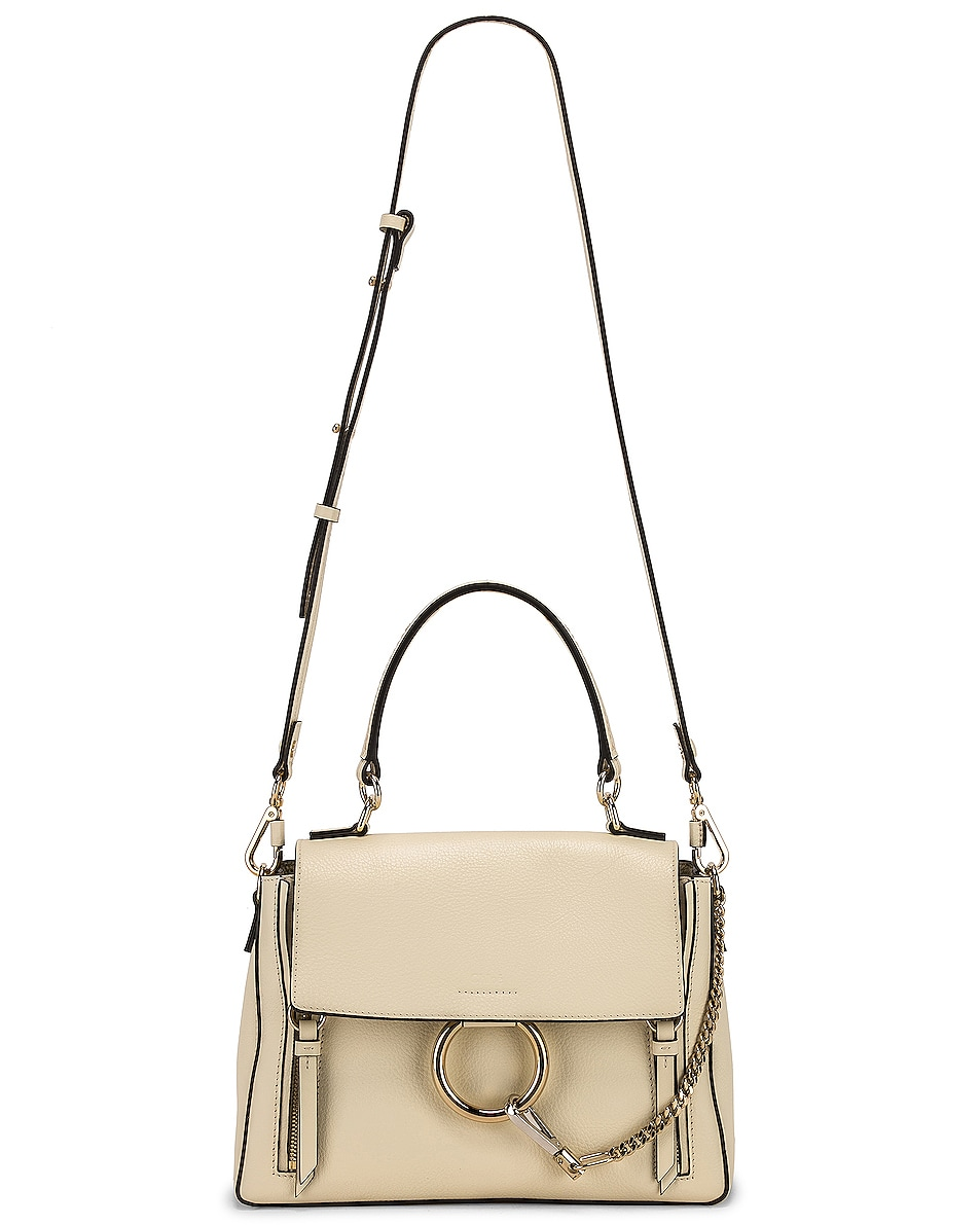 Image 6 of Chloe Small Faye Calfskin & Suede Day Bag in Off White