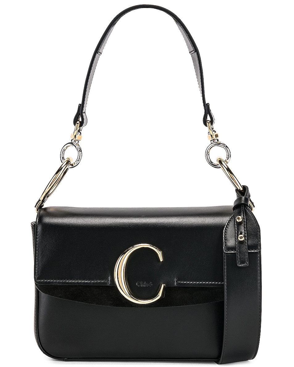Image 1 of Chloe Small Chloe C Double Carry Bag in Black