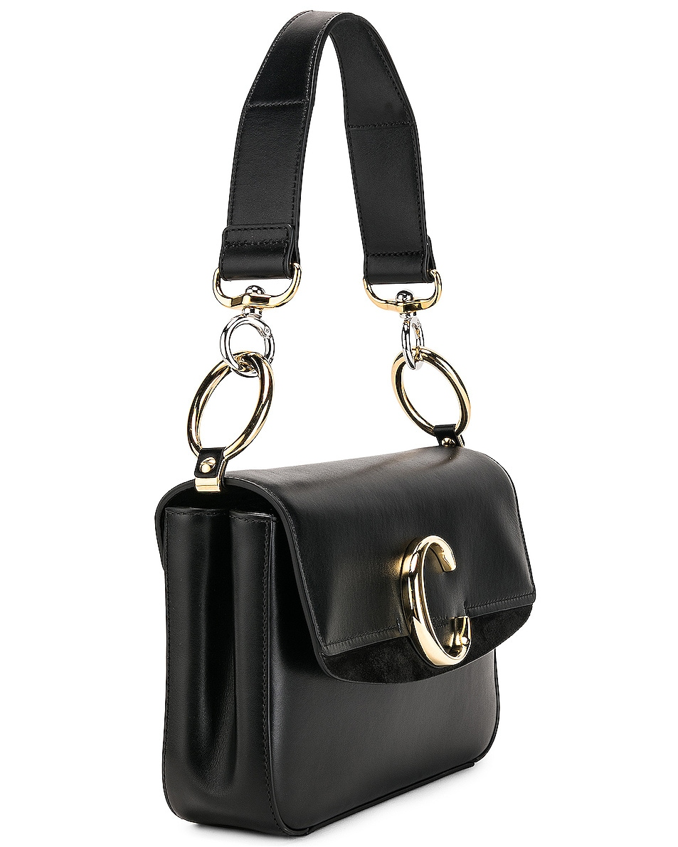 Image 4 of Chloe Small Chloe C Double Carry Bag in Black