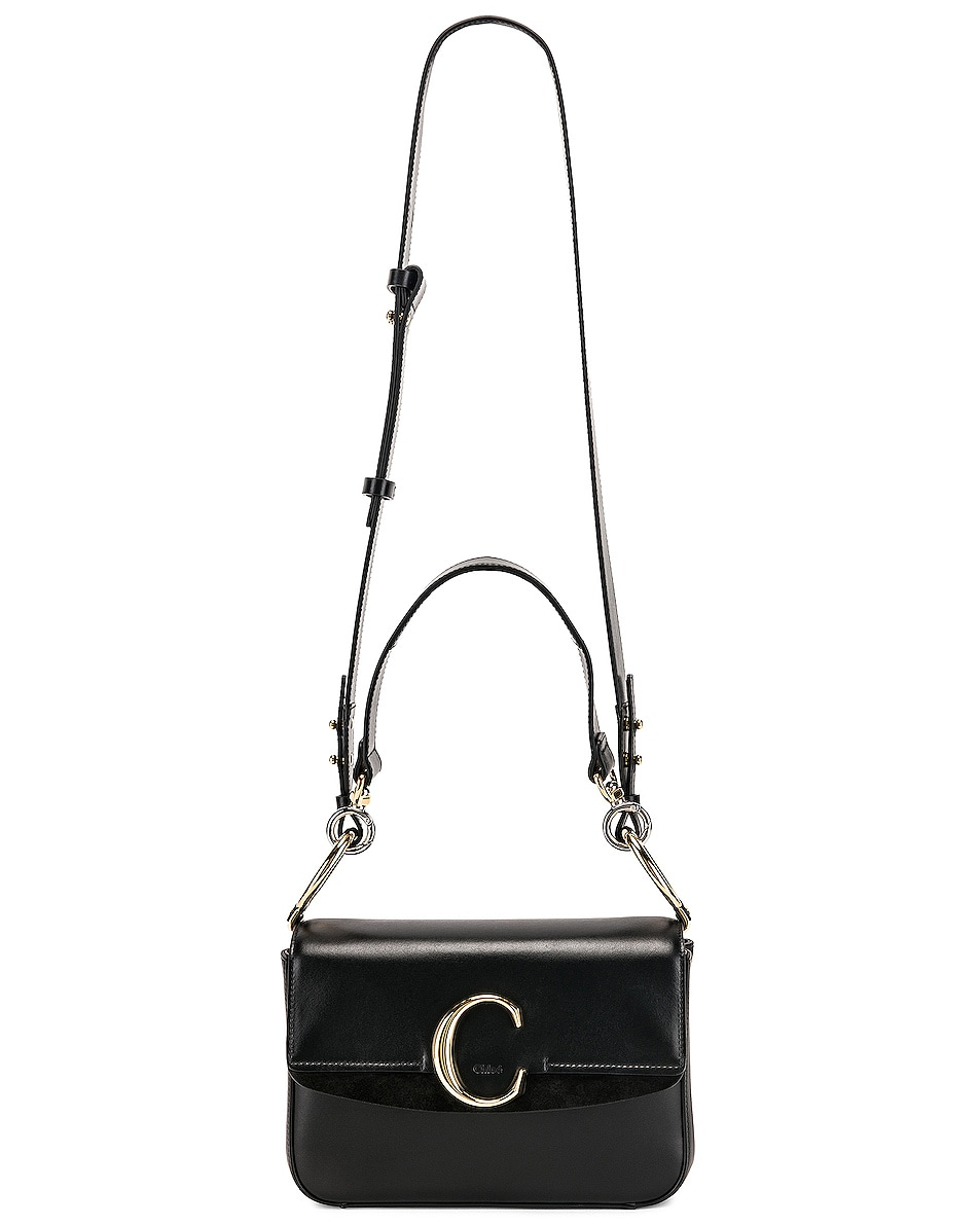 Image 6 of Chloe Small Chloe C Double Carry Bag in Black