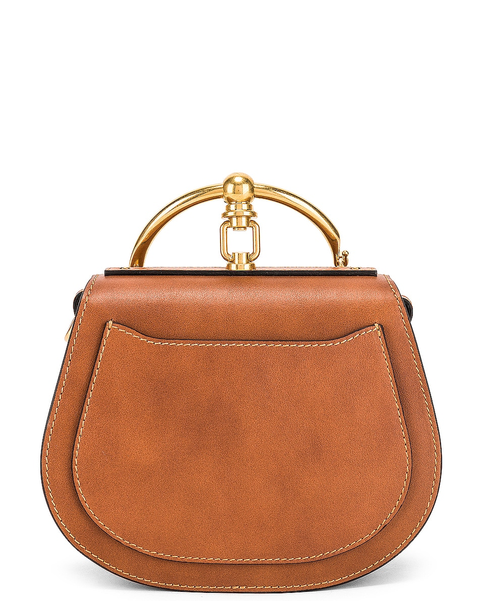 Image 3 of Chloe Small Nile Calfskin & Suede Bracelet Bag in Caramel