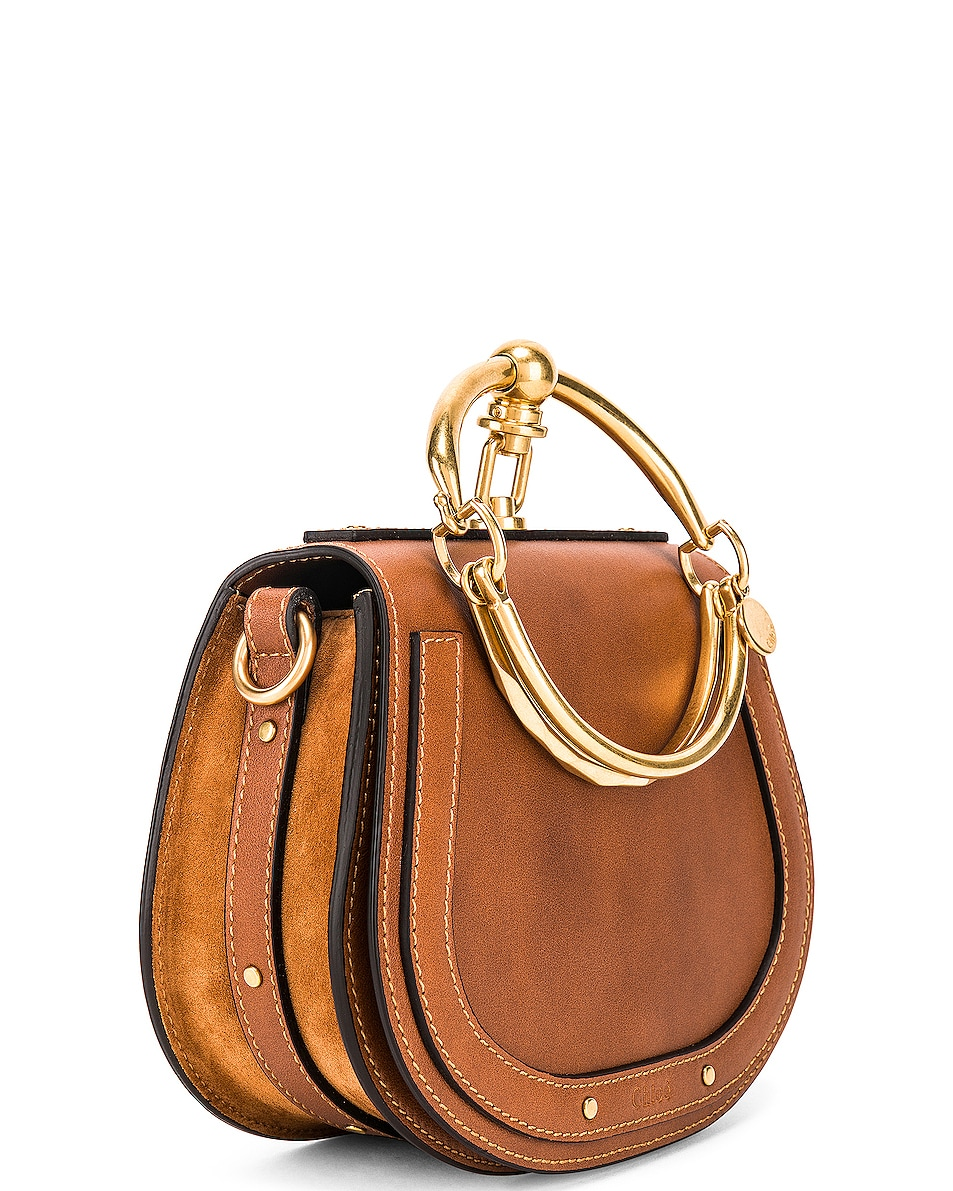 Image 4 of Chloe Small Nile Calfskin & Suede Bracelet Bag in Caramel