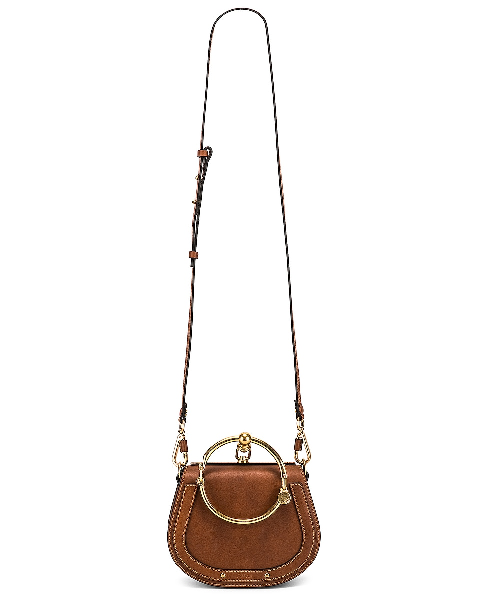 Image 6 of Chloe Small Nile Calfskin & Suede Bracelet Bag in Caramel