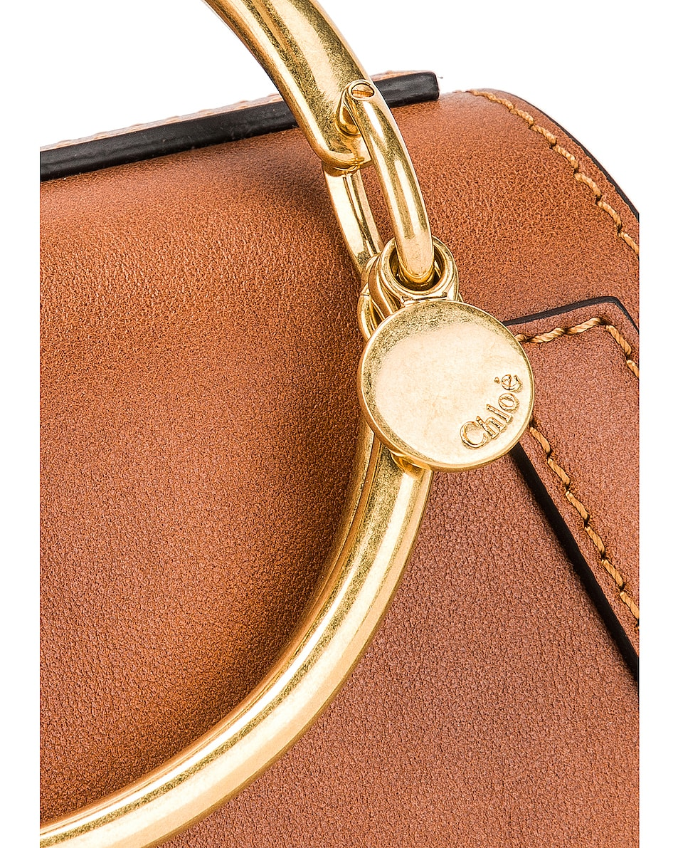 Image 8 of Chloe Small Nile Calfskin & Suede Bracelet Bag in Caramel