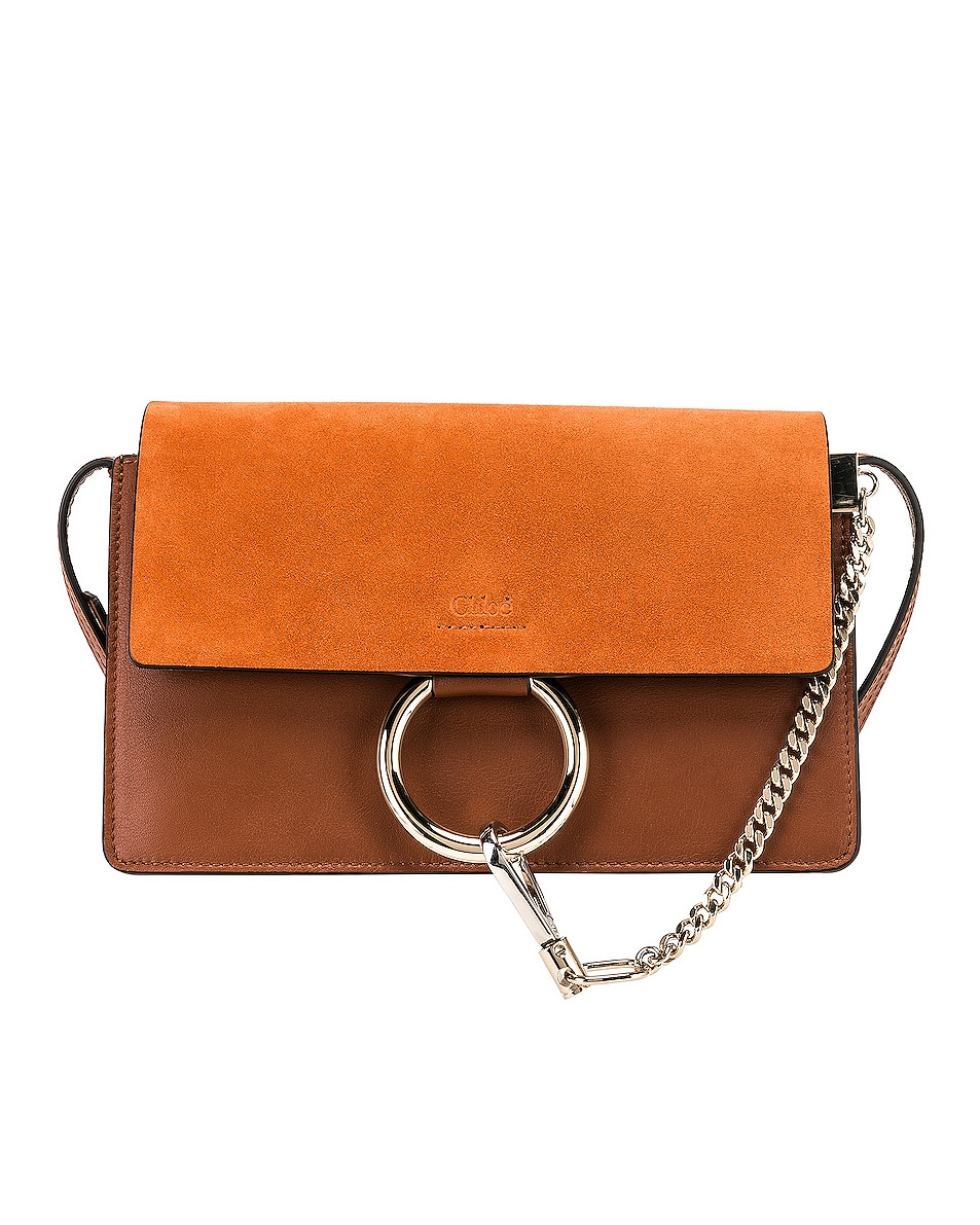 Image 1 of Chloe Small Faye Suede & Calfskin Shoulder Bag in Classic Tobacco