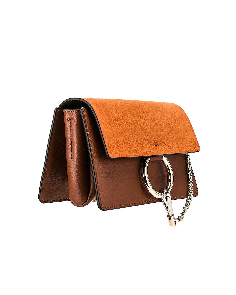 Image 4 of Chloe Small Faye Suede & Calfskin Shoulder Bag in Classic Tobacco