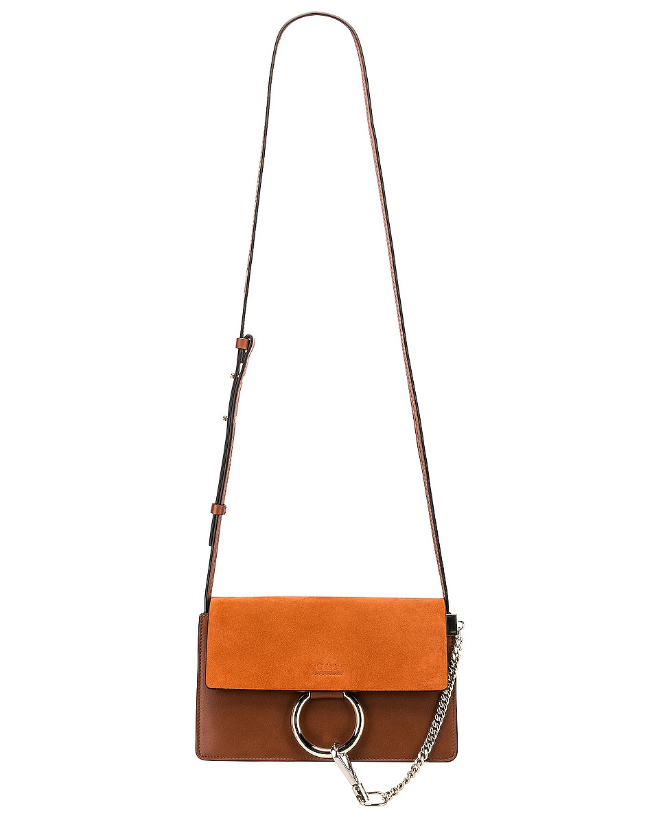 Image 6 of Chloe Small Faye Suede & Calfskin Shoulder Bag in Classic Tobacco