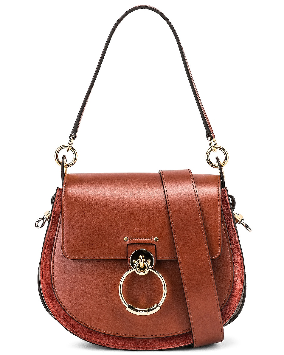 Image 1 of Chloe Medium Tess Shiny Calfskin Shoulder Bag in Sepia Brown