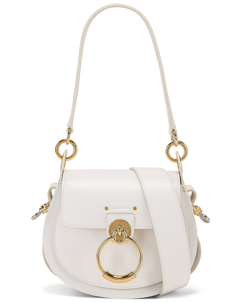 Image 1 of Chloe Small Tess Shiny Calfskin Shoulder Bag in Brilliant White