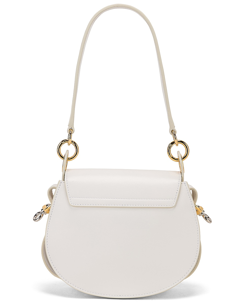 Image 3 of Chloe Small Tess Shiny Calfskin Shoulder Bag in Brilliant White