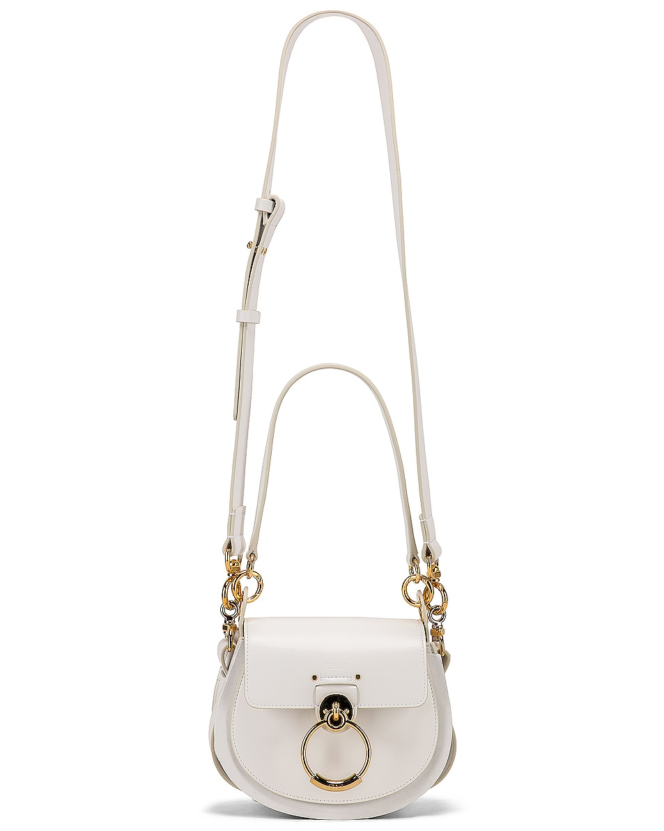 Image 6 of Chloe Small Tess Shiny Calfskin Shoulder Bag in Brilliant White