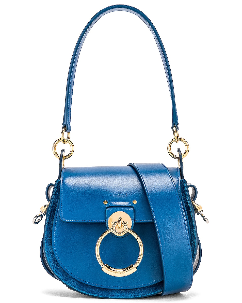 Image 1 of Chloe Small Tess Shiny Calfskin Shoulder Bag in Smoky Blue