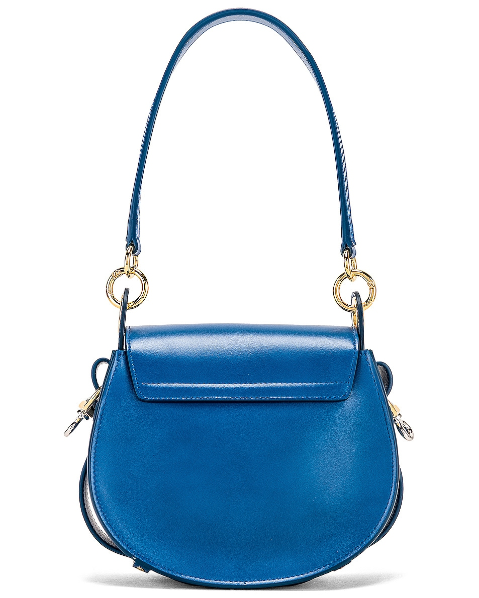 Image 3 of Chloe Small Tess Shiny Calfskin Shoulder Bag in Smoky Blue