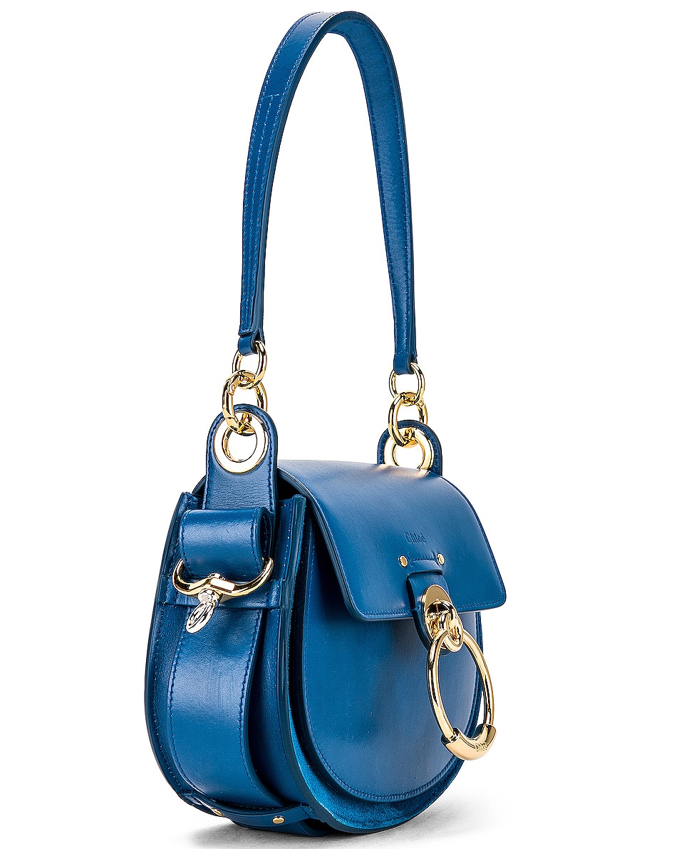 Image 4 of Chloe Small Tess Shiny Calfskin Shoulder Bag in Smoky Blue