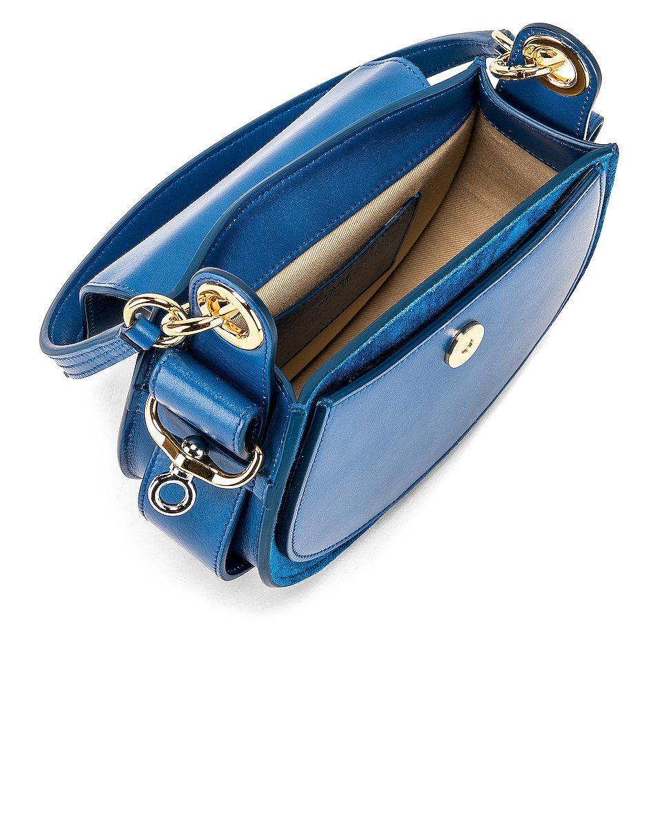 Image 5 of Chloe Small Tess Shiny Calfskin Shoulder Bag in Smoky Blue