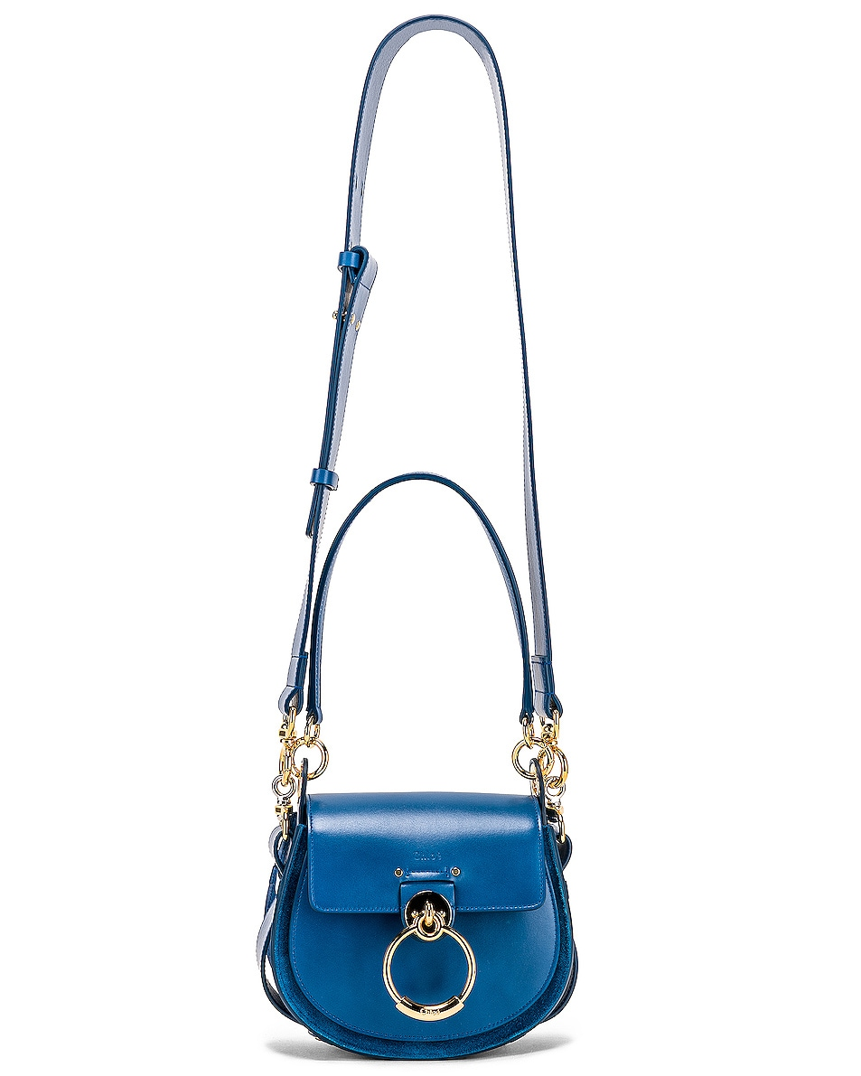 Image 6 of Chloe Small Tess Shiny Calfskin Shoulder Bag in Smoky Blue