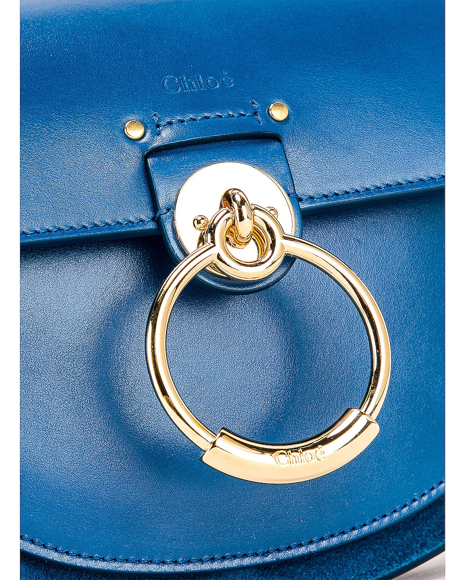 Image 8 of Chloe Small Tess Shiny Calfskin Shoulder Bag in Smoky Blue