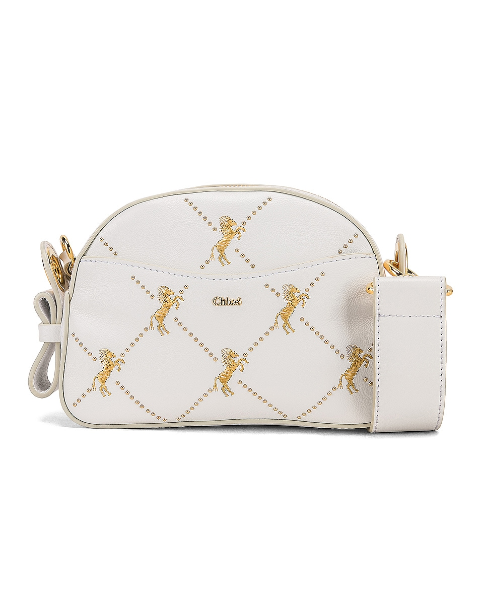 Image 1 of Chloe Mini Signature Embroidered Leather Bag in Brilliant White