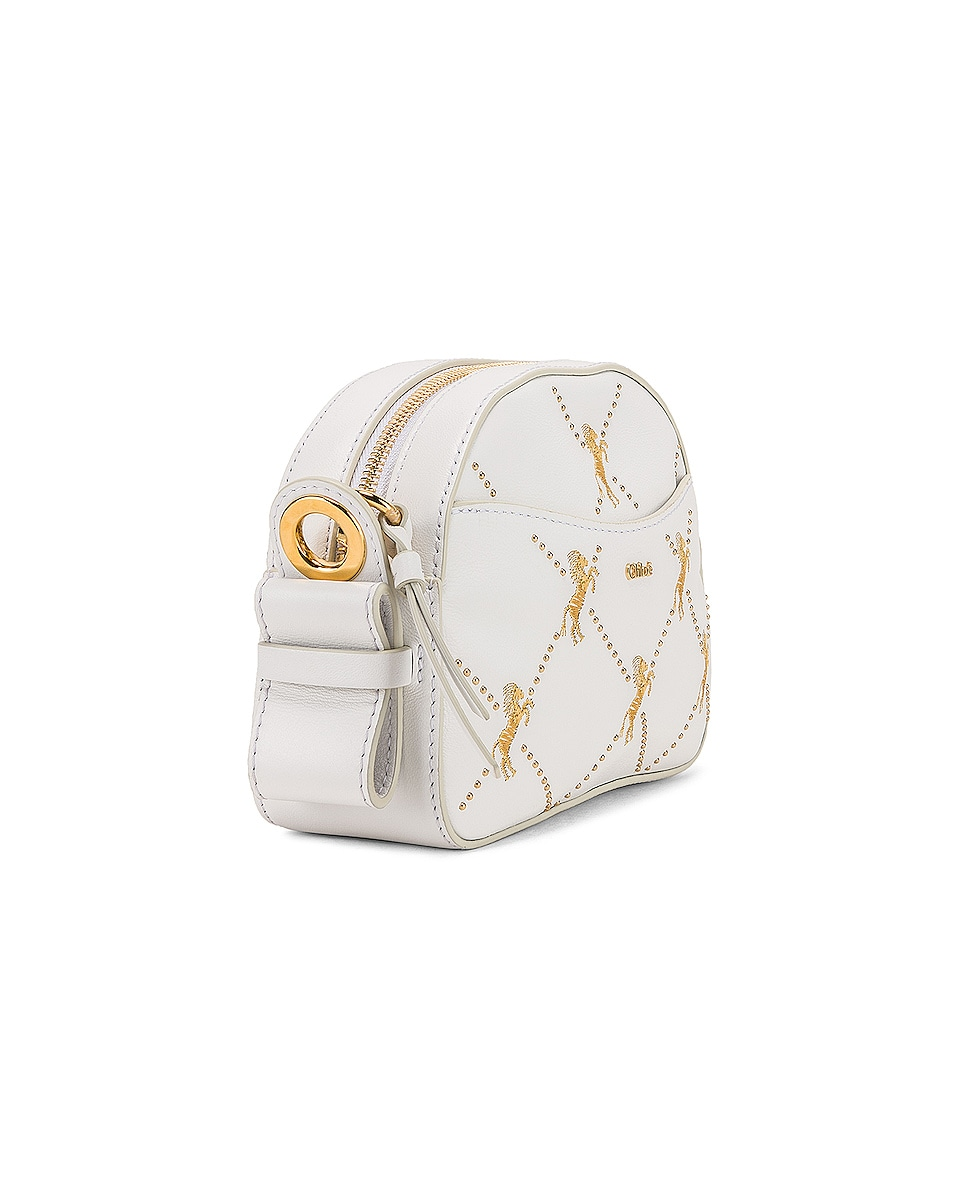 Image 4 of Chloe Mini Signature Embroidered Leather Bag in Brilliant White