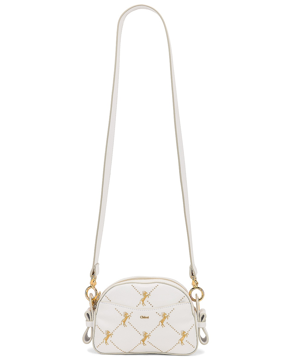 Image 6 of Chloe Mini Signature Embroidered Leather Bag in Brilliant White