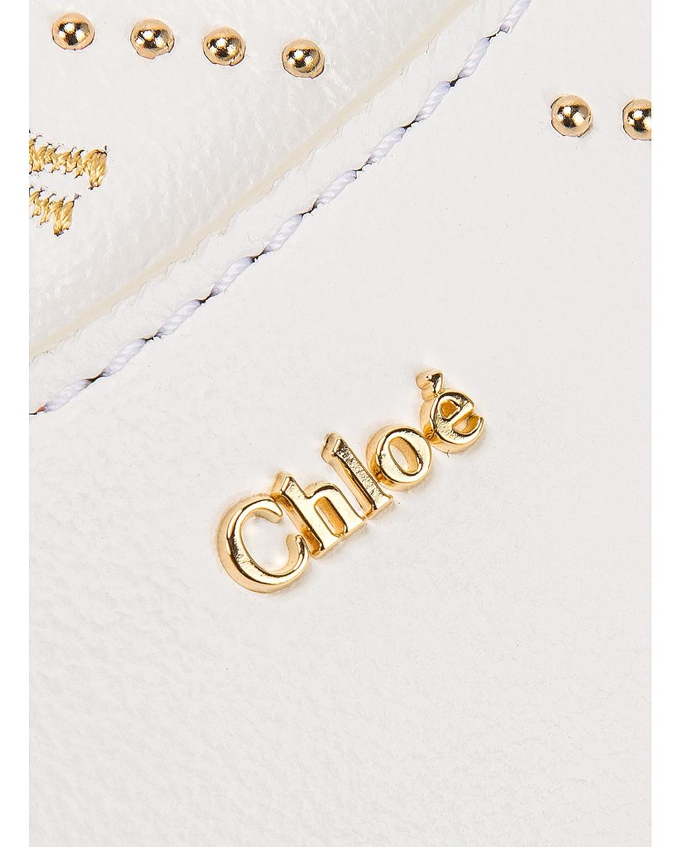 Image 7 of Chloe Mini Signature Embroidered Leather Bag in Brilliant White