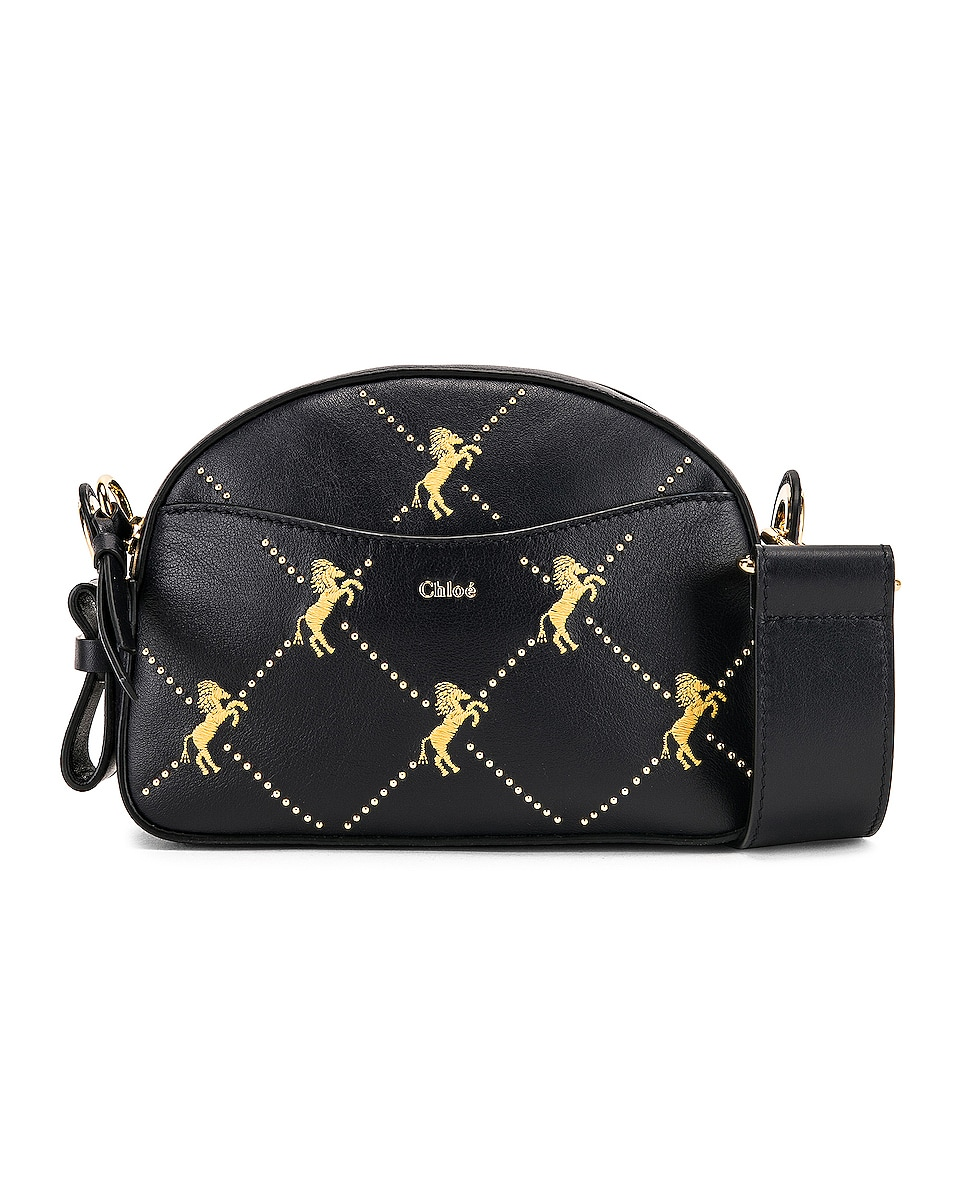 Image 1 of Chloe Mini Signature Embroidered Leather Bag in Full Blue