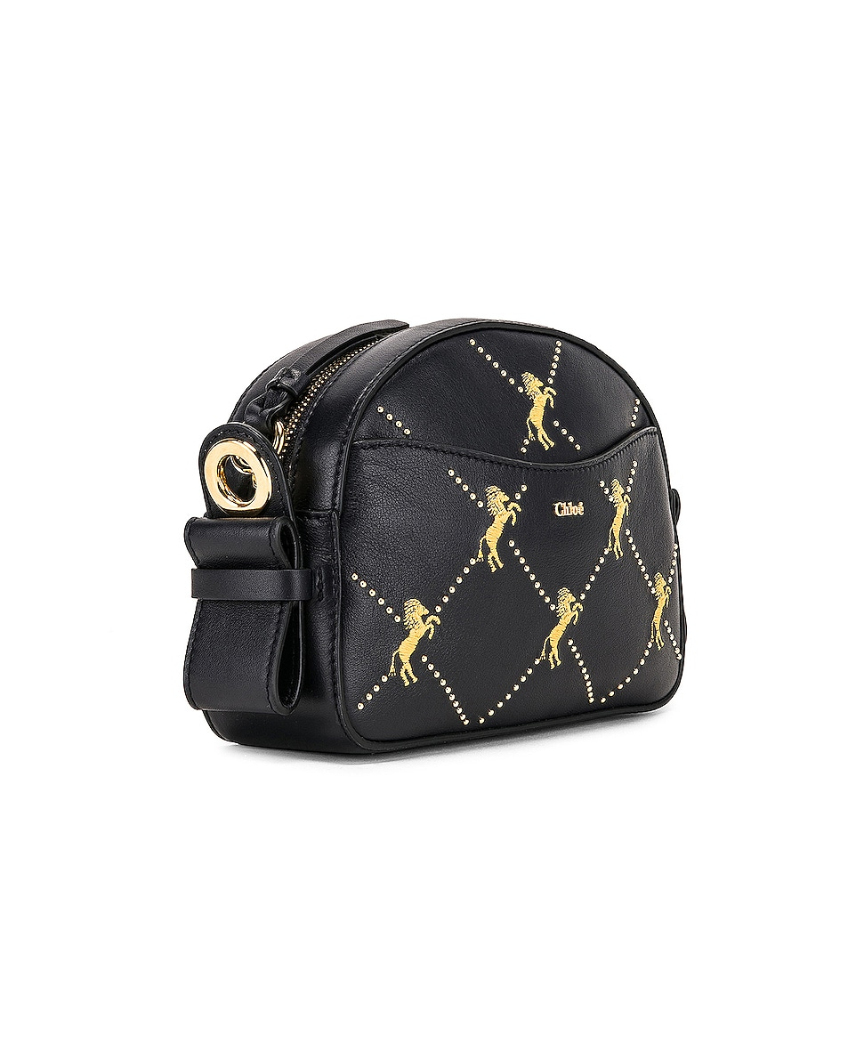 Image 4 of Chloe Mini Signature Embroidered Leather Bag in Full Blue