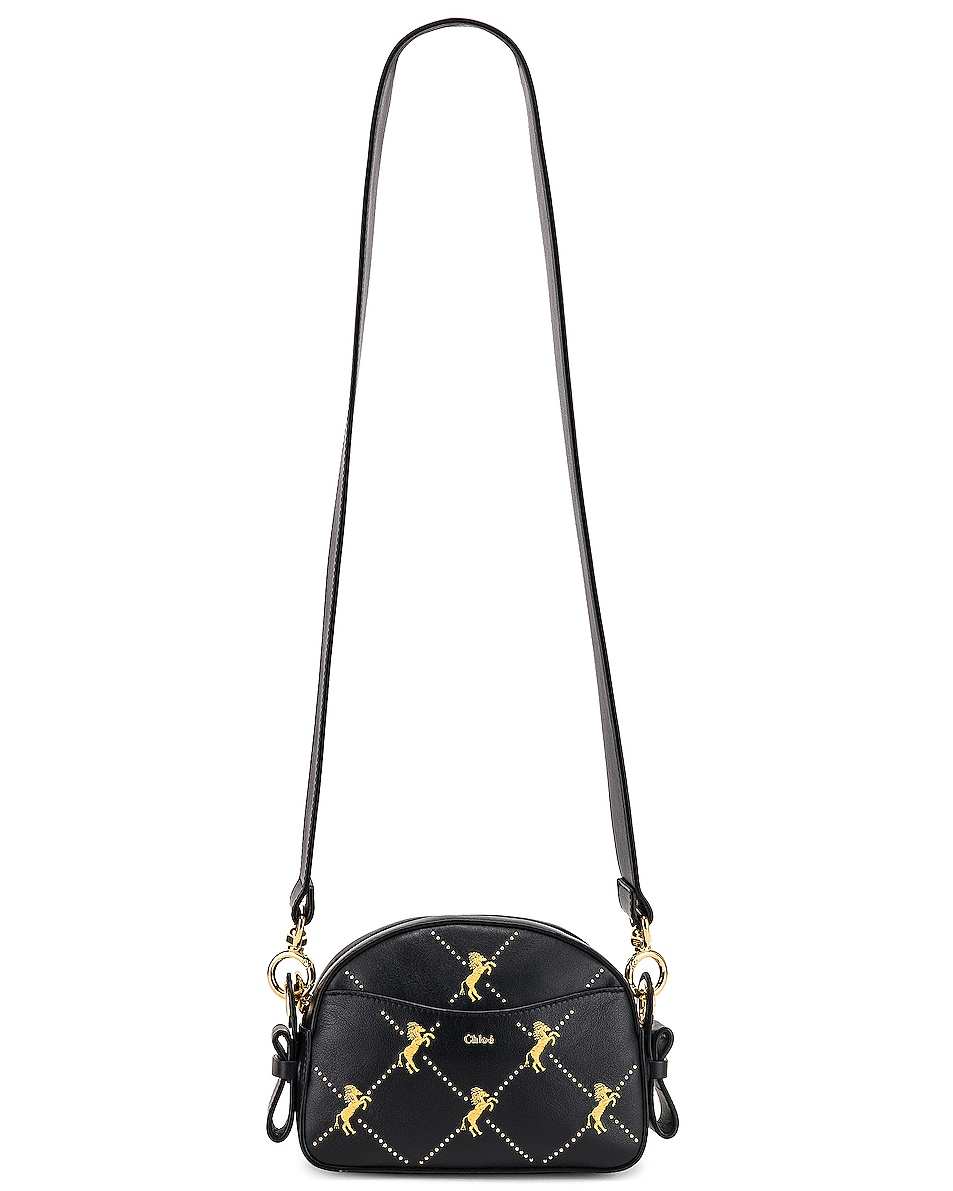 Image 6 of Chloe Mini Signature Embroidered Leather Bag in Full Blue