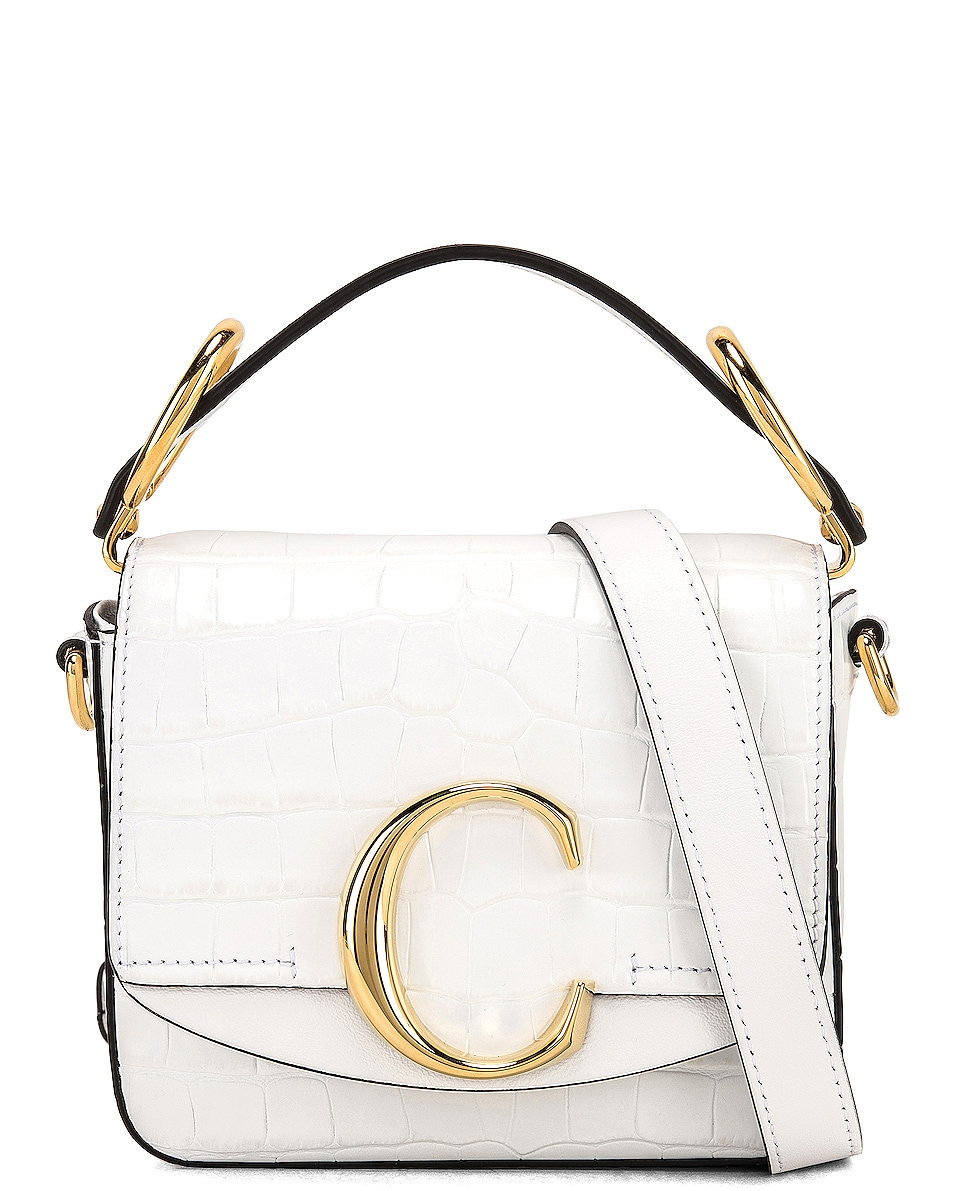Image 1 of Chloe Mini C Embossed Croc Crossbody Bag in Brilliant White