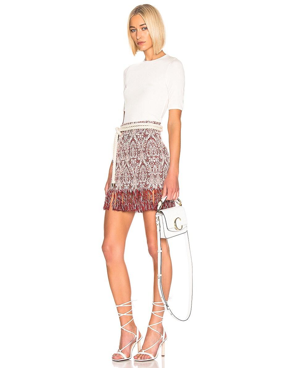 Image 2 of Chloe Mini C Embossed Croc Crossbody Bag in Brilliant White