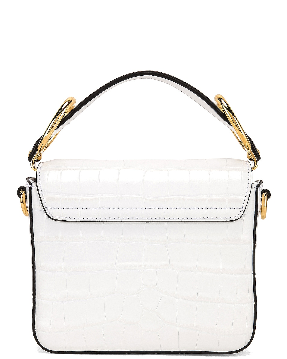 Image 3 of Chloe Mini C Embossed Croc Crossbody Bag in Brilliant White