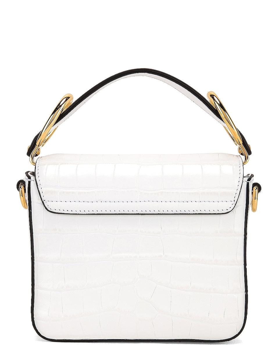 Image 3 of Chloe Mini C Embossed Croc Crossbody Bag in Brilliant White