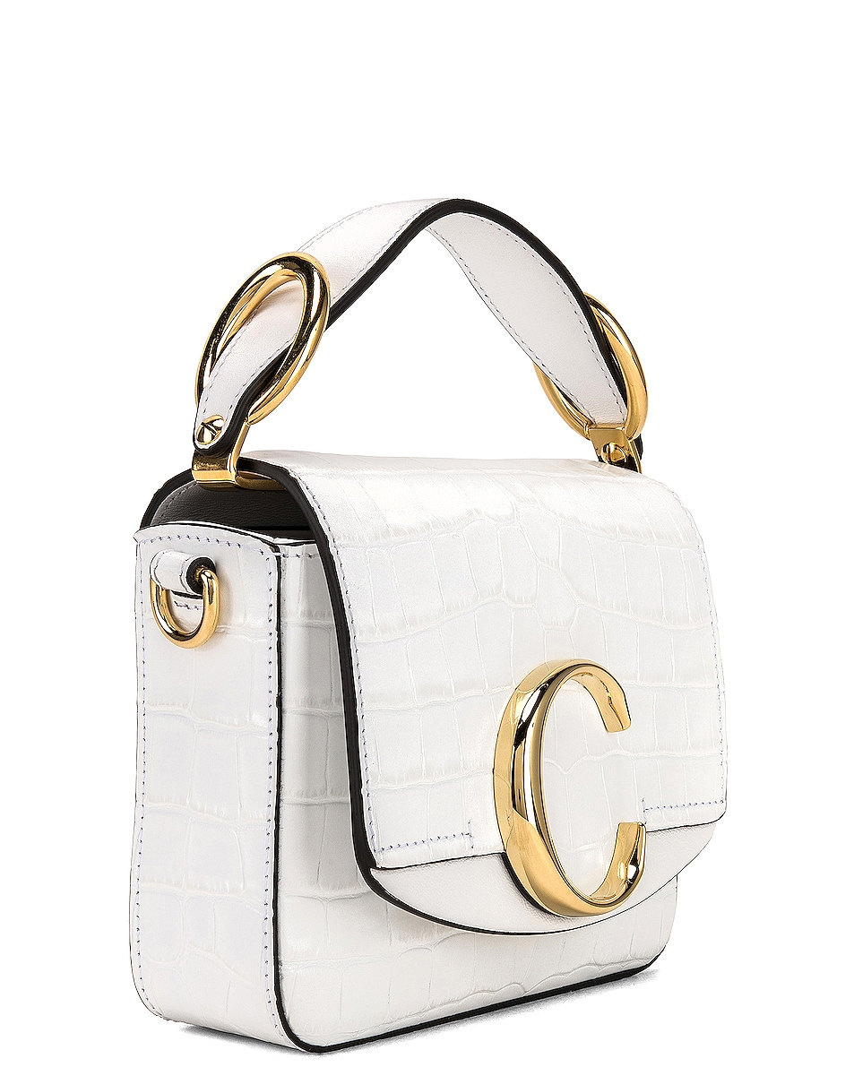 Image 4 of Chloe Mini C Embossed Croc Crossbody Bag in Brilliant White