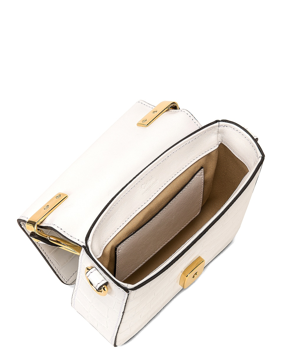 Image 5 of Chloe Mini C Embossed Croc Crossbody Bag in Brilliant White