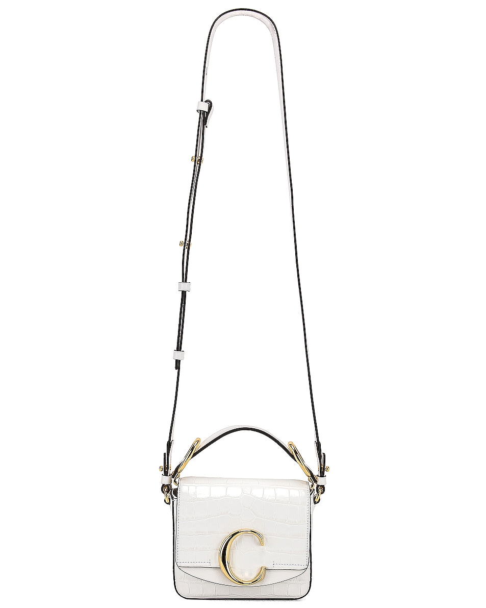 Image 6 of Chloe Mini C Embossed Croc Crossbody Bag in Brilliant White