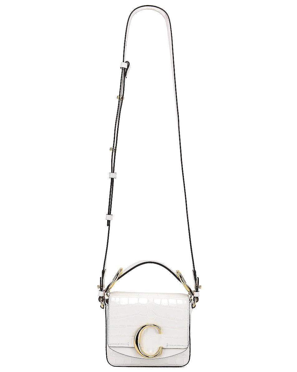 Image 6 of Chloe Mini C Embossed Croc Crossbody Bag in Brilliant White
