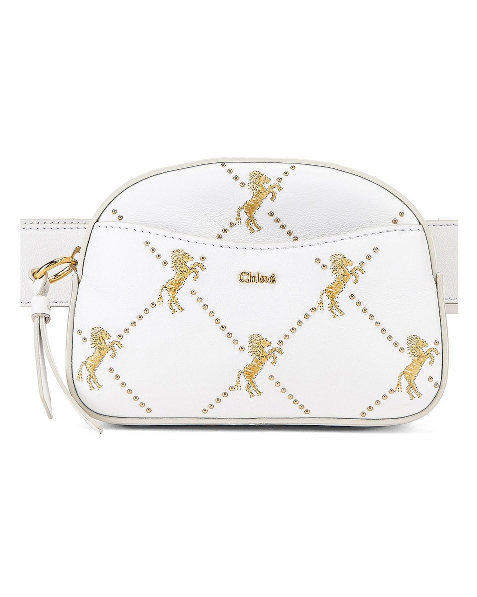 Image 1 of Chloe Signature Embroidered Leather Belt Bag in Brilliant White