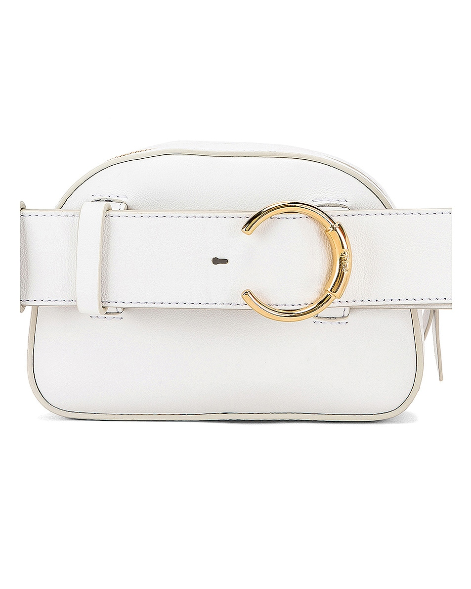 Image 3 of Chloe Signature Embroidered Leather Belt Bag in Brilliant White