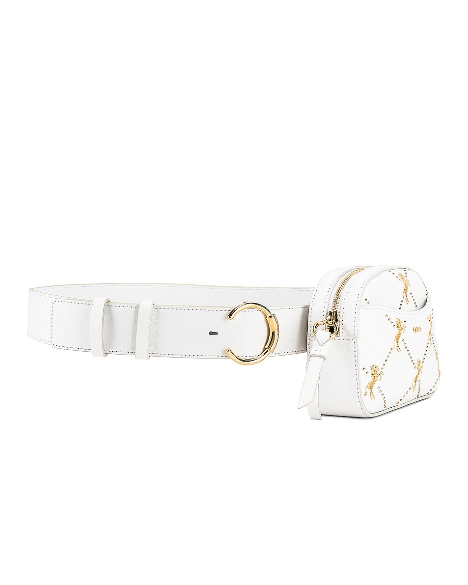 Image 4 of Chloe Signature Embroidered Leather Belt Bag in Brilliant White