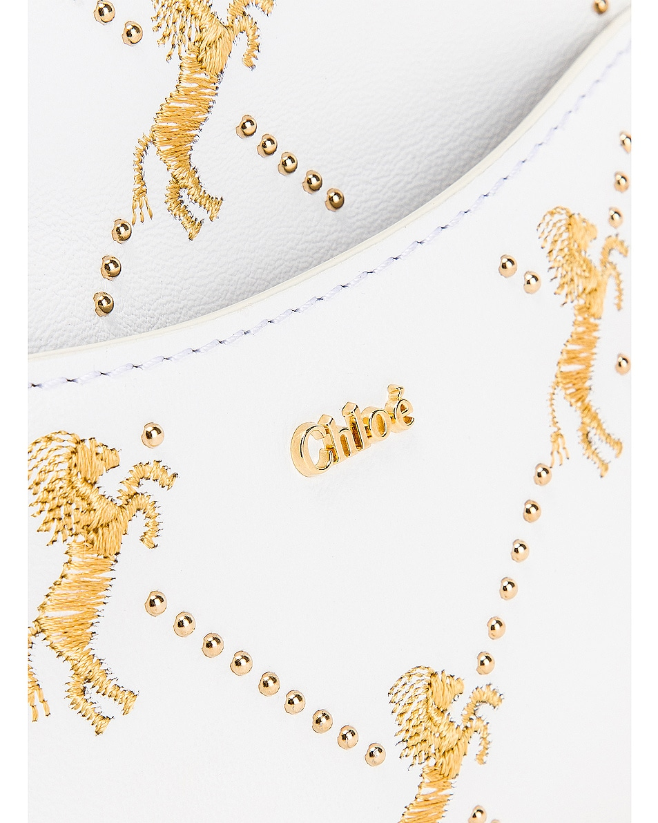 Image 7 of Chloe Signature Embroidered Leather Belt Bag in Brilliant White