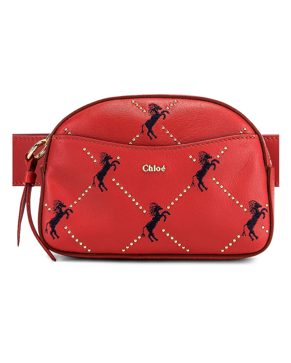 Image 1 of Chloe Signature Embroidered Leather Belt Bag in Earthy Red