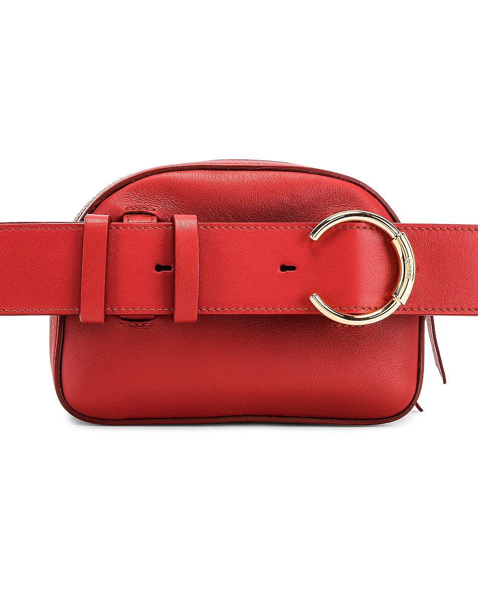 Image 2 of Chloe Signature Embroidered Leather Belt Bag in Earthy Red