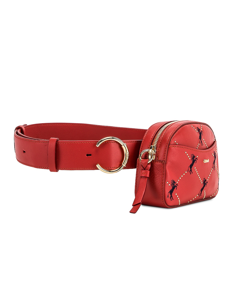 Image 3 of Chloe Signature Embroidered Leather Belt Bag in Earthy Red