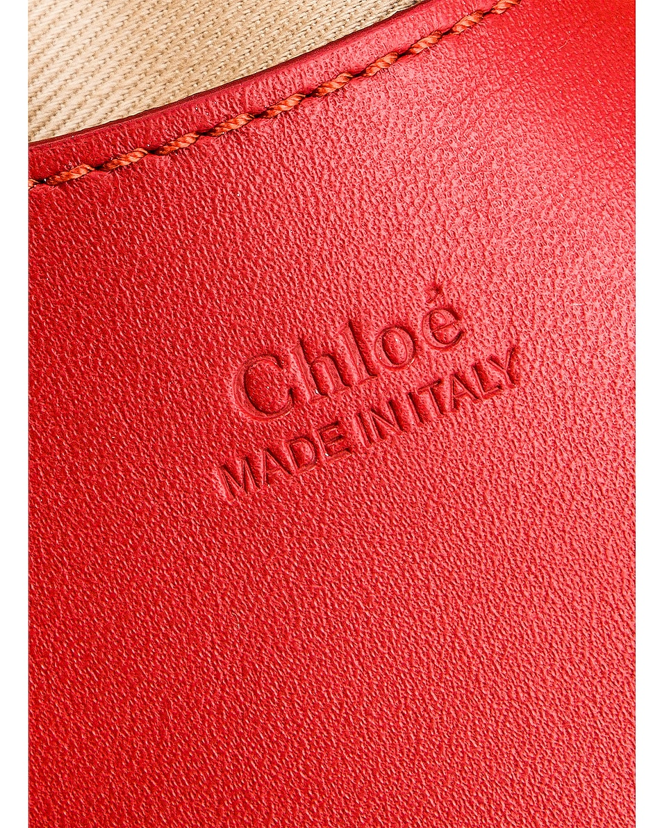 Image 5 of Chloe Mini Signature Embroidered Leather Belt Bag in Earthy Red