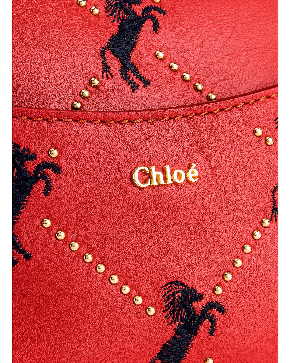 Image 6 of Chloe Mini Signature Embroidered Leather Belt Bag in Earthy Red