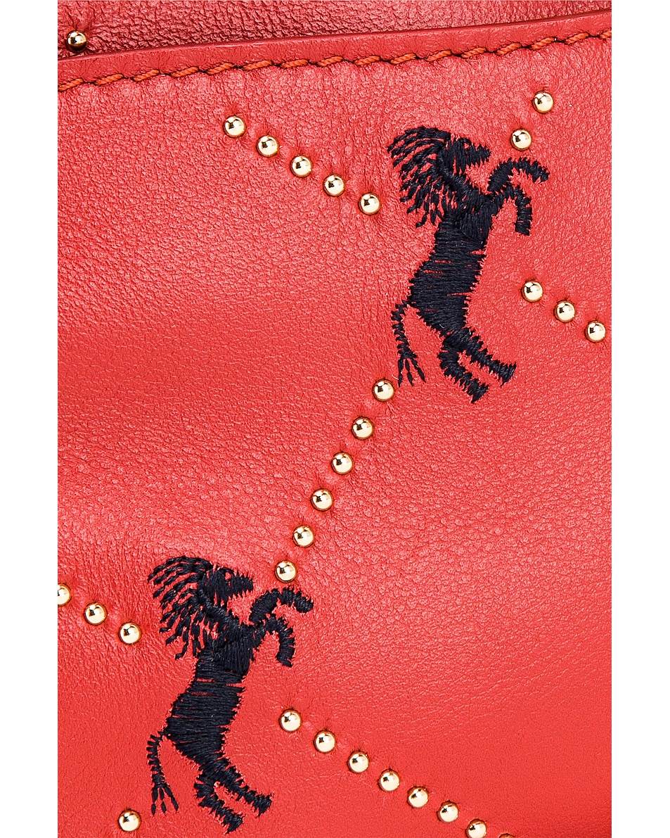 Image 8 of Chloe Mini Signature Embroidered Leather Belt Bag in Earthy Red