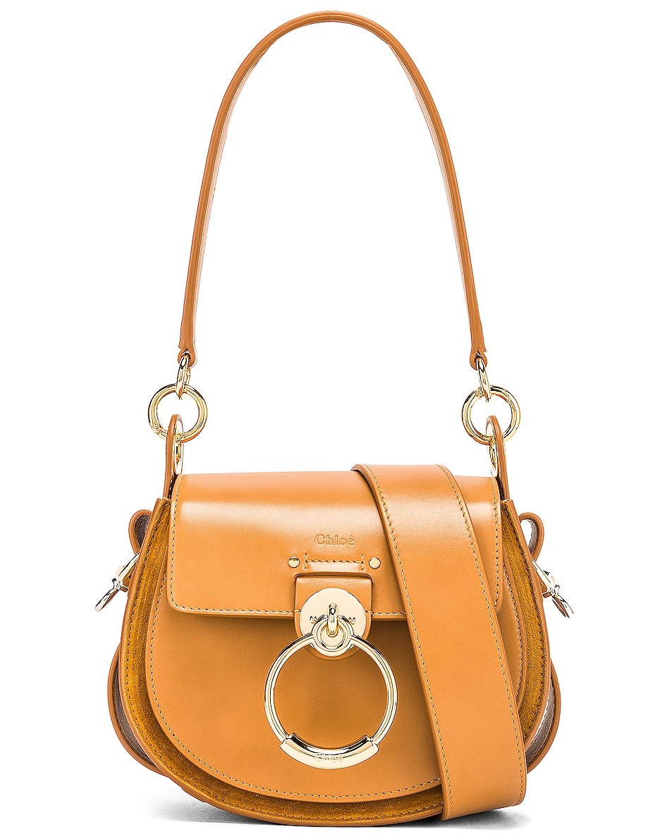Image 1 of Chloe Small Tess Shiny Calfskin Shoulder Bag in Autumnal Brown