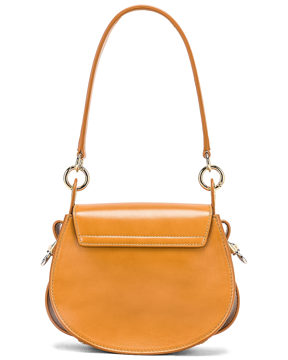Image 3 of Chloe Small Tess Shiny Calfskin Shoulder Bag in Autumnal Brown
